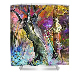King Solomon And The Two Mothers Shower Curtain by Miki De Goodaboom