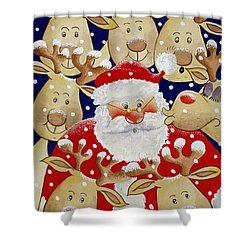 Kiss For Santa Shower Curtain by Tony Todd