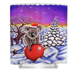 Koala On Christmas Ball Shower Curtain by Remrov