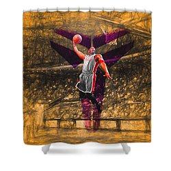 Kobe Bryant Black Mamba Digital Painting Shower Curtain by David Haskett