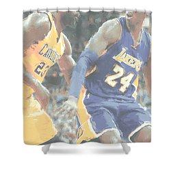Kobe Bryant Lebron James 2 Shower Curtain by Joe Hamilton