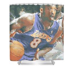 Kobe Bryant Lebron James Shower Curtain by Joe Hamilton