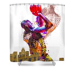 Kobe Bryant Los Angeles Lakers Digital Painting Snake 1 Shower Curtain by David Haskett