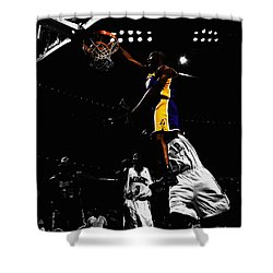 Kobe Bryant On Top Of Dwight Howard Shower Curtain by Brian Reaves