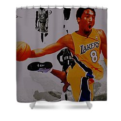 Kobe Bryant Taking Flight 3a Shower Curtain by Brian Reaves
