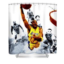 Kobe Bryant Took Flight Shower Curtain by Brian Reaves