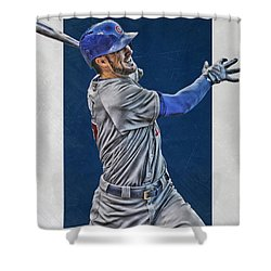 Kris Bryant Chicago Cubs Art 3 Shower Curtain by Joe Hamilton