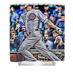 Kris Bryant Chicago Cubs Shower Curtain by Joe Hamilton