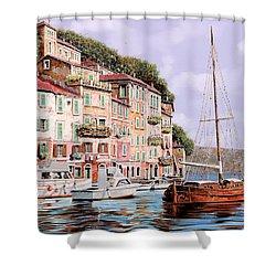 La Barca Rossa Alla Calata Shower Curtain by Guido Borelli