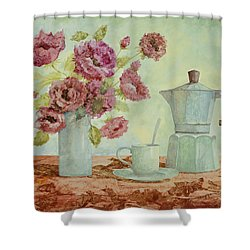 La Caffettiera E I Fiori Amaranto Shower Curtain by Guido Borelli