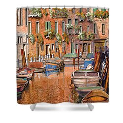 La Curva Sul Canale Shower Curtain by Guido Borelli