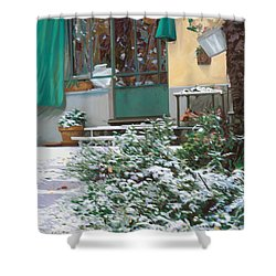 La Neve A Casa Shower Curtain by Guido Borelli
