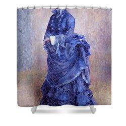 La Parisienne The Blue Lady  Shower Curtain by Pierre Auguste Renoir