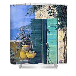La Porta Verde Shower Curtain by Guido Borelli