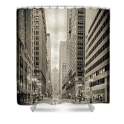 Lasalle Street Canyon With Chicago Board Of Trade Building At The South Side - Chicago Illinois Shower Curtain by Silvio Ligutti