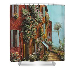 La Strada Verso Il Lago Shower Curtain by Guido Borelli