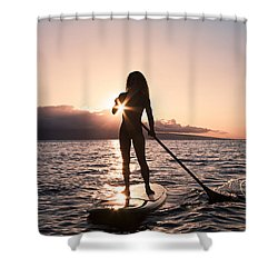 Lady Paddling Shower Curtain by Dave Fleetham - Printscapes