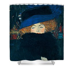Lady With A Hat And A Feather Boa Shower Curtain by Gustav Klimt
