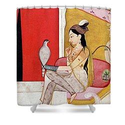 Lady With A Hawk Shower Curtain by Guler School