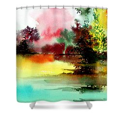 Lake In Colours Shower Curtain by Anil Nene