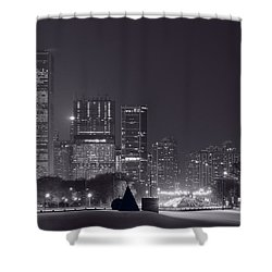 Lake Shore Drive Chicago B And W Shower Curtain by Steve Gadomski