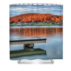 Autumn Red At Lake White Shower Curtain by Jaki Miller