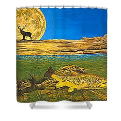 Landscape Art Fish Art Brown Trout Timing Bull Elk Full Moon Nature Contemporary Modern Decor Shower Curtain by Baslee Troutman