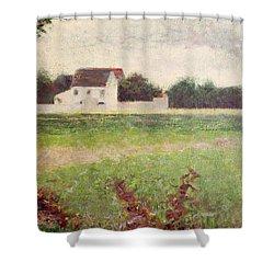 Landscape In The Ile De France Shower Curtain by Georges Pierre Seurat