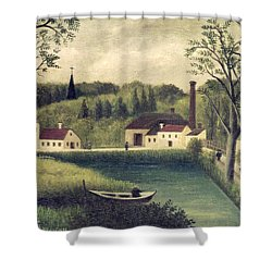 Landscape With A Fisherman Shower Curtain by Henri Rousseau