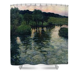 Landscape With A River Shower Curtain by Fritz Thaulow