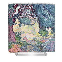 Landscape With Goats Shower Curtain by Henri-Edmond Cross