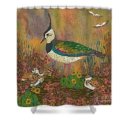 Lapwing Revival Shower Curtain by Lotti Brown