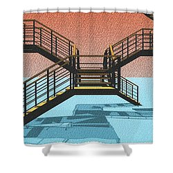 Large Stair 38 On Cyan And Strange Red Background Abstract Arhitecture Shower Curtain by Pablo Franchi