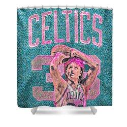 Larry Bird Boston Celtics Digital Painting Pink Shower Curtain by David Haskett