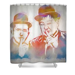 Laurel And Hardy Shower Curtain by Dan Sproul