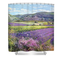 Lavender Fields In Old Provence Shower Curtain by Timothy Easton