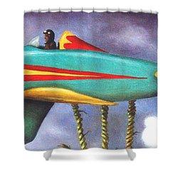 Lazy Bird Plane Detail Shower Curtain by Leah Saulnier The Painting Maniac