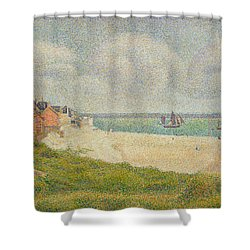 Le Crotoy Looking Upstream Shower Curtain by Georges Pierre Seurat