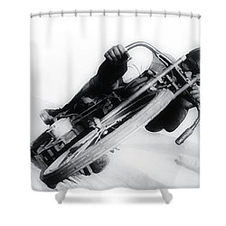 Leaning Hard Shower Curtain by Bill Cannon