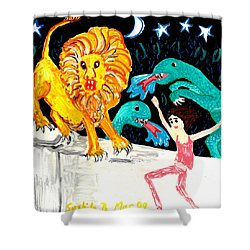 Leap Away From The Lion Shower Curtain by Sushila Burgess
