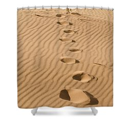 Leave Only Footprints Shower Curtain by Heather Applegate
