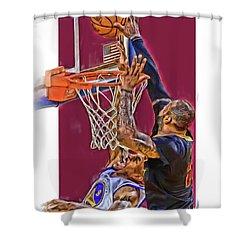 Lebron James Cleveland Cavaliers Oil Art Shower Curtain by Joe Hamilton