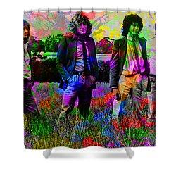 Led Zeppelin Band Portrait Paint Splatters Pop Art Shower Curtain by Design Turnpike