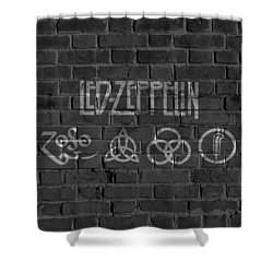 Led Zeppelin Brick Wall Shower Curtain by Dan Sproul