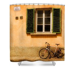 Left Flat In Lucca Shower Curtain by Mick Burkey