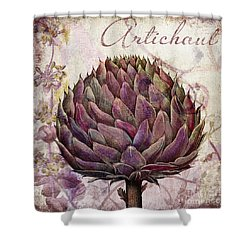 Legumes Francais Artichoke Shower Curtain by Mindy Sommers