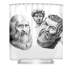 Leonardo And Michelangelo Shower Curtain by Murphy Elliott