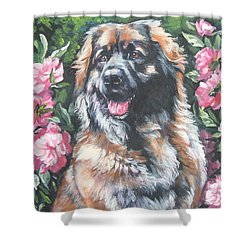 Leonberger In The Peonies Shower Curtain by Lee Ann Shepard