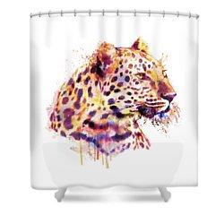 Leopard Head Shower Curtain by Marian Voicu