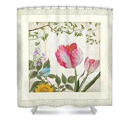 Les Magnifiques Fleurs I - Magnificent Garden Flowers Parrot Tulips N Indigo Bunting Songbird Shower Curtain by Audrey Jeanne Roberts